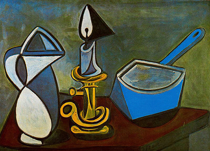 Pablo Picasso, Κύπελλο, κερί και επισμαλτωμένη κατσαρόλα, 1945, λάδι σε καμβά, 82x106,5 cm. Pompidou, Musée d'art moderne, Paris © Sabam 2017-2018