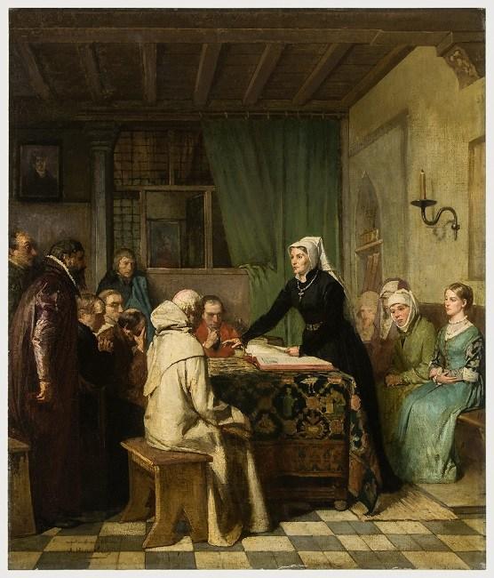 Antonia van Roesmale verklaart de Bijbel voor de hervormden van Leuven (1882) - πίνακας του André Hennebicq