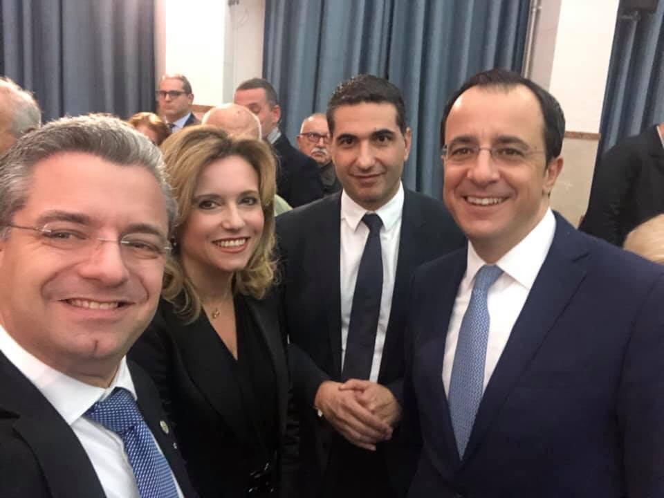 Η Πρόεδρος του Συνδέσμου Πολιτισμού Ελλάδας Κύπρου, κα Σίσσυ Σιγιουλτζή-Ρουκά, με τον Υπουργό Εξωτερικών της Κύπρου, Δρα Νίκο Χριστοδουλίδη, σε εκδήλωση προς τιμήν του ιδίου στην Εταιρεία Μακεδονικών Σπουδών στη Θεσσαλονίκη. Μαζί τους, ο Πρόξενος της Κυπριακής Δημοκρατίας στη Θεσσαλονίκη, κ. Σπύρος Μιλτιάδης και ο Ιωάννης Ρουκάς, Οικονομολόγο - Περιφερειακός Συντονιστής της Ελληνικής Κυβέρνησης (Θεσσαλία, Ήπειρος, Μακεδονία και Θράκη).