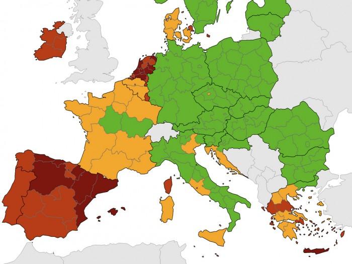 ECDC: Στο κόκκινο οι Βρυξέλλες, όπως η Κορσική, η Ιρλανδία και τμήματα της Ελλάδας